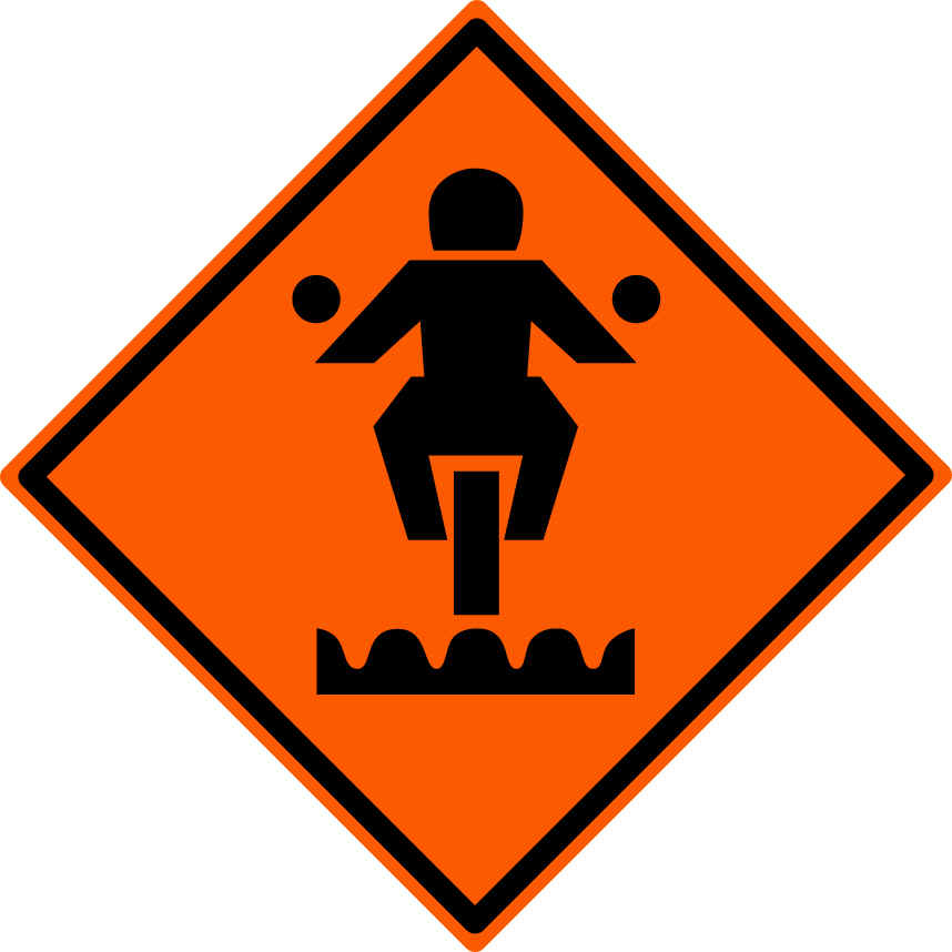 caution motorcycle sign