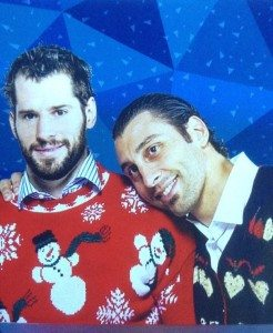 Kesler and Luongo in Christmas Sweaters