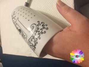 14) This is one way that the mug can be held while you're working on the zentangle. Put your left hand inside the mug while you draw/paint with your right hand.
