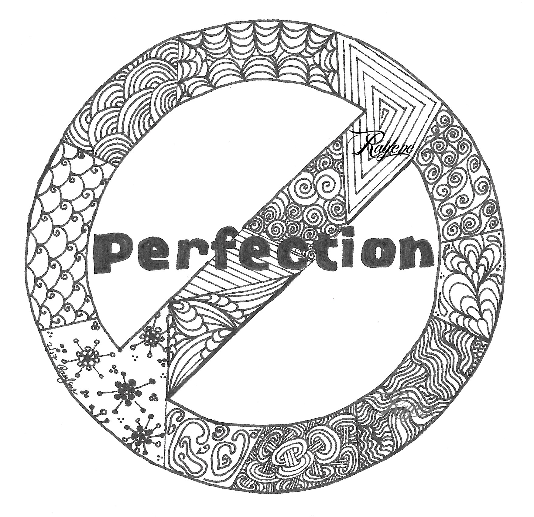 Not Perfection - zentangled